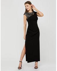 Monsoon Black (black) Ophelia Sequin Insert Stretch Maxi Dress Black, In Size: 18