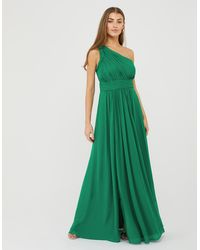 Monsoon Green Fully Lined Dani One-shoulder Maxi Dress, In Size: 6