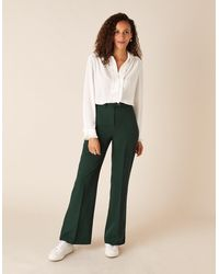Monsoon Tailored Wide-leg Trousers Green