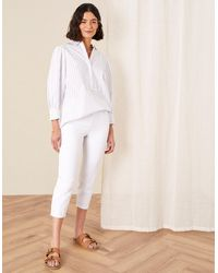 Monsoon White Slim Idabella Cropped Jeans, In Size: 10