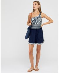 Monsoon Madara Jersey Embroidered Shorts In Lenzingtm Ecoverotm - Blue