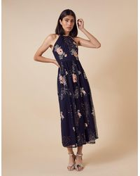 Monsoon Ellen Floral Embroidery Midi Dress In Recycled Fabric Blue