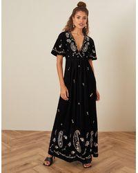 Monsoon Black (black) Jacqueline Velvet Embellished Maxi Dress Black, In Size: 20