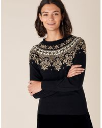 Monsoon Embellished Fair Isle Knit Jumper Black