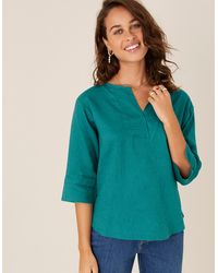 Monsoon Teal Daisy T-shirt In Pure Linen, In Size: M - Blue