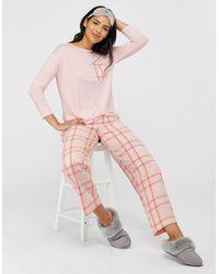 Monsoon Hailey Check Cotton Pj Trousers - Pink