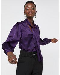 Monsoon Violet Silk Cotton Tie Neck Blouse - Purple
