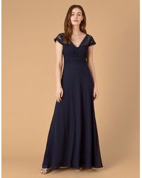 Monsoon Navy Blue Classic Julie Lace Bodice Maxi Dress Perfect For A Special Occasion, Size: 12