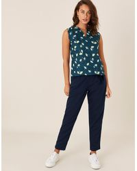 Monsoon Teal Printed Scallop Tank Top In Pure Linen, Floral Print, In Size: M - Blue