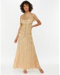 Monsoon - Gold 'janet' Embellished Maxi Dress - Lyst