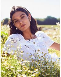Monsoon Broderie Anglaise Top In Organic Cotton White