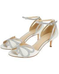Monsoon Victoria Glitter And Satin Bridal Kitten Sandals - White