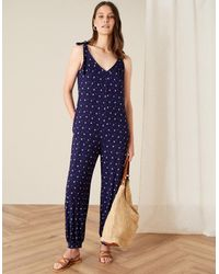 Monsoon Blue (navy) Olly Printed Hareem Jumpsuit Blue, In Size: M