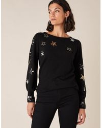 Monsoon Sequin Star Knit Jumper Black