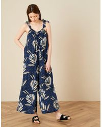 Monsoon Blue Blue Zola Floral Wide Leg Jumpsuit, Print, In Size: M, Print, In Size: M