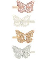 Monsoon Glitterbutterflyhairclipset, , - White