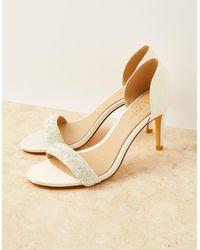 Monsoon Women's Cream Embellished Beaded Peep-toe Bridal Heels, Size: 39 - White