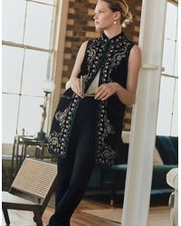 Monsoon Women's Black, Beige And Blue Embellished Embroidered Velvet Waistcoat, Size: L