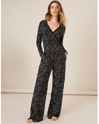 Monsoon Black Lightweight Lounge Carter Printed Jersey Jumpsuit, Print, In Size: Xl