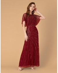 Monsoon Red Red Florence Flutter Sleeve Maxi Dress, Embellished, In Size: 20, Embellished, In Size: 20