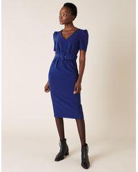 Monsoon - Blue Smart Stephanie Belted Shift Dress, In Size: 8 - Lyst