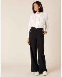 Monsoon Military Wide-leg Trousers Black