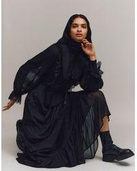 Monsoon Black (black) Lace Trim Collared Maxi Dress Black, In Size: 24