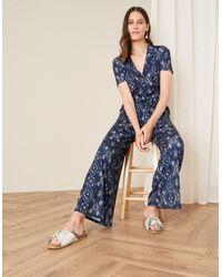 Monsoon Blue (navy) Printed Wide Leg Jersey Jumpsuit Blue, In Size: 22