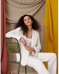 Monsoon Cream Cream Smart Longline Blazer In Linen Blend, In Size: 22, In Size: 22 - Multicolour