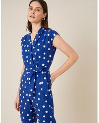 Monsoon - Navy Blue Navy Blue Spot Jumpsuit In Linen Blend Blue, Print, In Size: 18, Print, In Size: 18 - Lyst