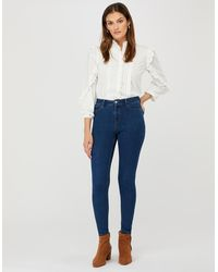 Monsoon Blue Iris Skinny Jeans With Organic Cotton And Recycled Polyester, In Size: 16
