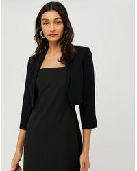 Monsoon Black Black Juni Cropped Jacket, In Size: 12, In Size: 12