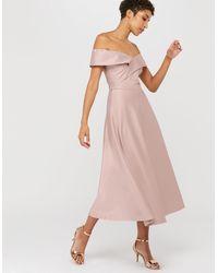 Monsoon Sigourney Satin Midi Dress - Pink
