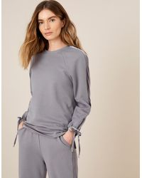 Monsoon Grey Grey Lounge Laurie Velour Trim Sweatshirt, In Size: L, In Size: L