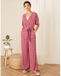 Monsoon Pink (pink) Pink (pink) Printed Jersey Wide Leg Jumpsuit Pink, Print, In Size: S, Print, In Size: S