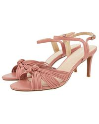 Monsoon Pink Pink Kitty Knot Heeled Sandals, In Size: 37, In Size: 37