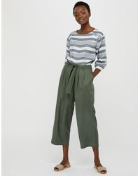 Monsoon Marty Cropped Trousers In Lenzingtm Tm Green