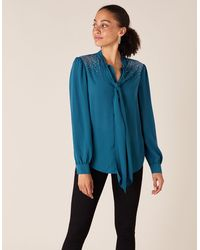 Monsoon Holly Heat-seal Gem Pussy-bow Blouse Teal - Blue
