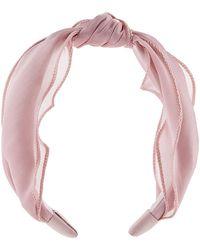 Monsoon Pink Stylish Pretty Knotted Shimmer Headband Mesh