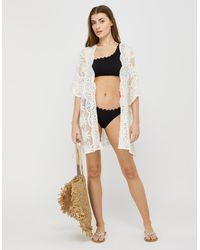 Monsoon Rosie Lace Kaftan In Recycled Fabric - White