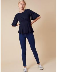 Monsoon Dolly Flute Sleeve Jersey Top Blue