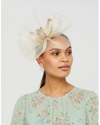 Monsoon Grace Sparkle Fascinator Headband With Feathers - Natural
