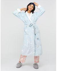 Monsoon Hadley Print Long Robe - Blue