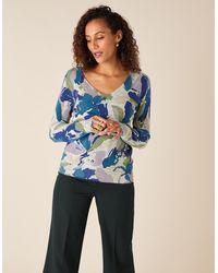 Monsoon Grey Slim V-neck Jumper, Floral Print, In Size: S