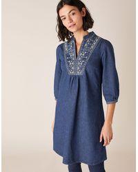 Monsoon Embroidered Denim Dress Blue