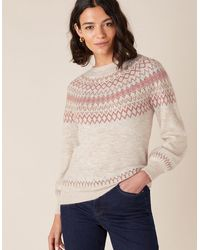Monsoon Fair Isle Yoke Knit Jumper Nude - Natural