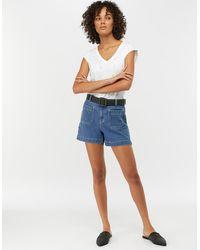 Monsoon Blue (denim Blue) Kyra Denim Shorts Blue, In Size: 18