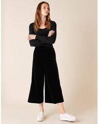 Monsoon Velvet Cropped Trousers Black