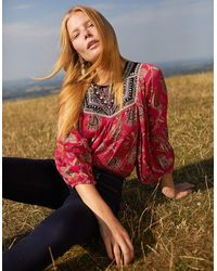 Monsoon Paisley Print Embroidered Top In Sustainable Viscose Pink