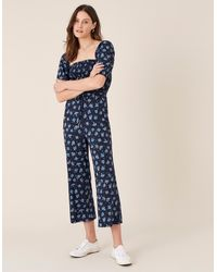 Monsoon Blue Blue Floss Printed Jumpsuit With Organic Cotton, Print, In Size: Xl, Print, In Size: Xl